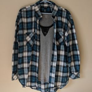 🎃 A.n.a blue plaid top and tee